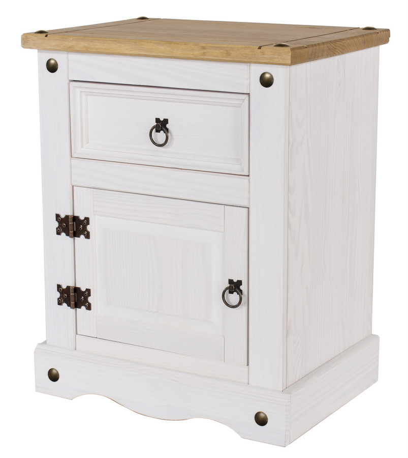 Corona White 1 Door 1 Drawer Bedside Cabinet