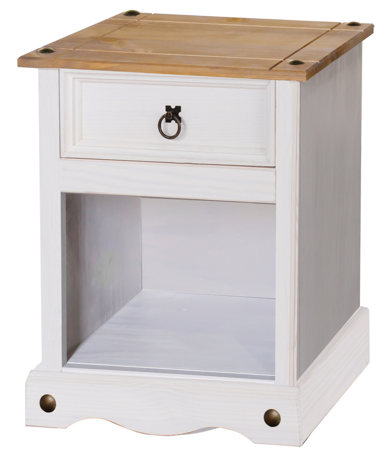 Corona White 1 Drawer Bedside Cabinet