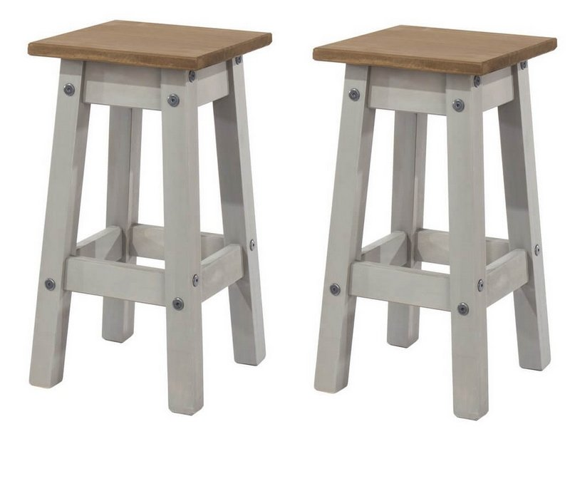 0b7e96957409 Abdabs Furniture - Corona Grey Washed Low Kitchen Stool - Pair
