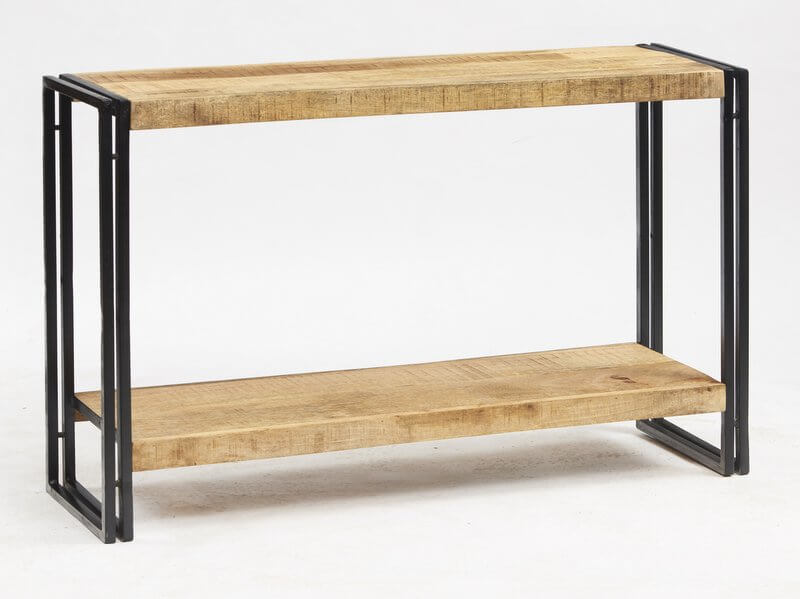 Cosmo Industrial Console Table - Reclaimed Wood/Dark Metal