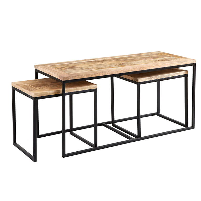 Cosmo Industrial John Long Coffee Table Set Reclaimed WoodDark Metal