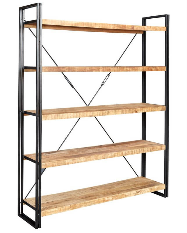 Cosmo Industrial Large Bookcase - Reclaimed Wood/Dark Metal