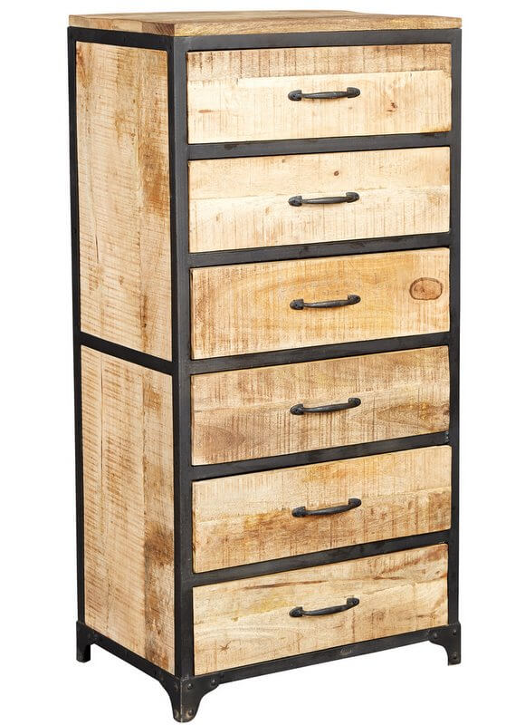 Cosmo Industrial Tall Chest - Reclaimed Wood/Dark Metal