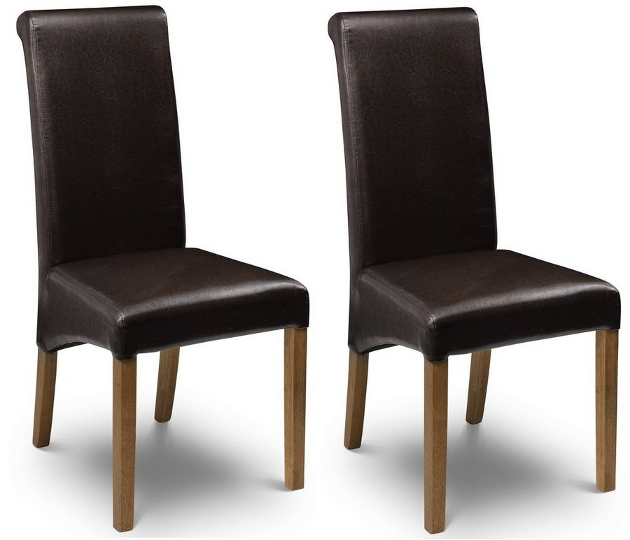 Abdabs Furniture Cuba Brown Faux Leather Dining Chairs Set