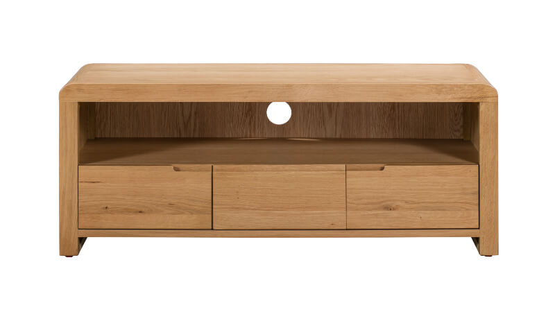 Curve Oak TV Unit with Three Drawers - Waxed Oak