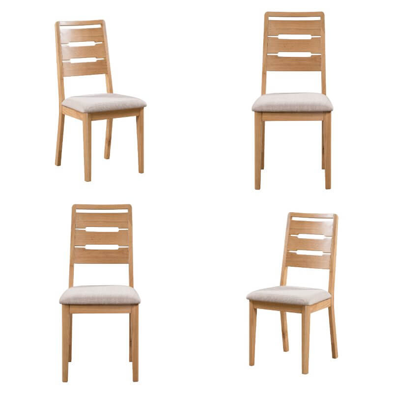 Curve Dining Chairs Set of 4 - Waxed Oak
