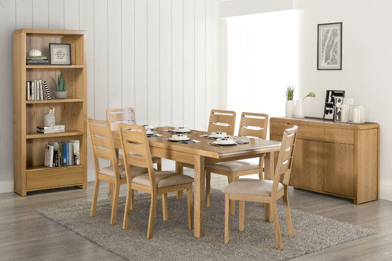 Cucina Letters Kitchen Decor, Abdabs Furniture Curve Extending Dining Table With 6 Dining Chairs Set Waxed Oak