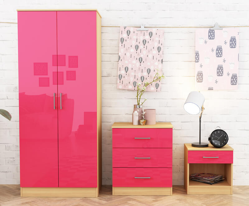Dakota 3 Piece Bedroom Set - Pink High Gloss