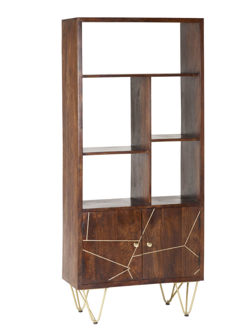 Dark Gold Large Bookcase 2 Door - Wood & Metal
