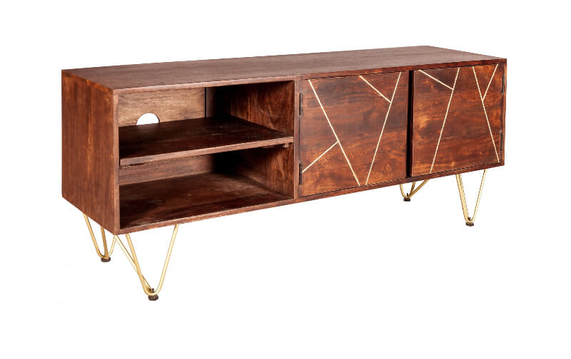 Dark Gold Plasma Media Unit - Wood & Metal