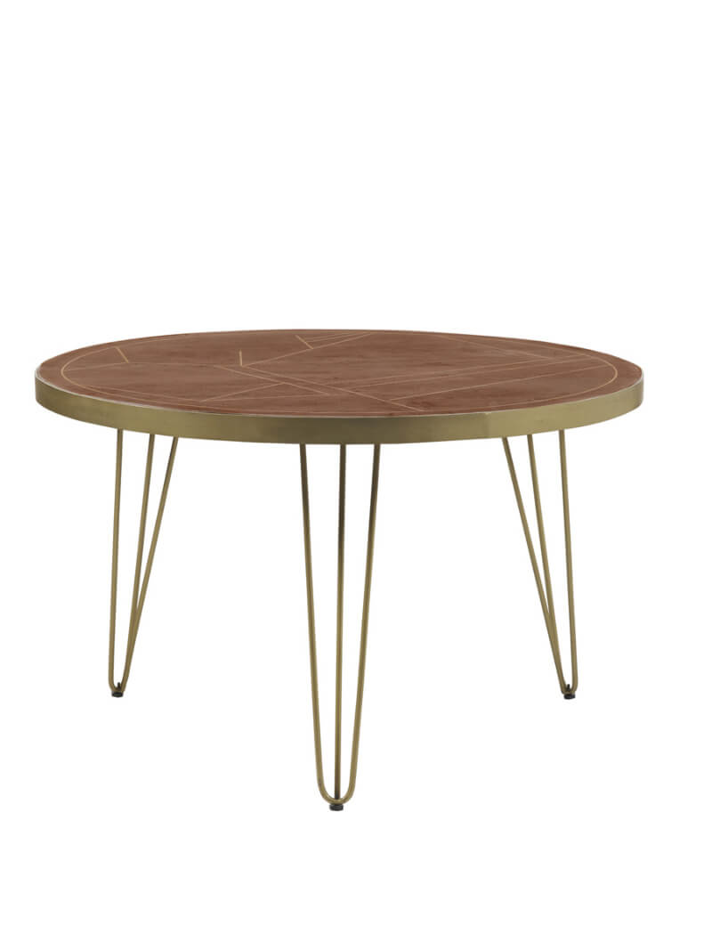 Dark Gold Round Dining Table 120 cm - Wood & Metal