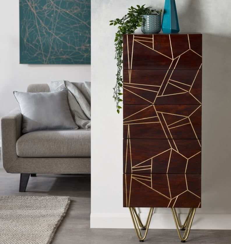 Dark Gold Tall Chest of Drawers - Wood & Metal