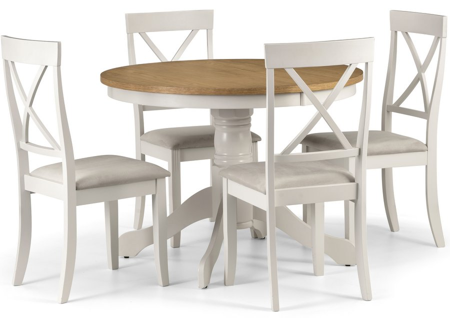 Davenport Round Pedestal Dining Table & 4 Davenport Chairs Set