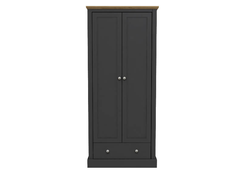 Devon 2 Door  1 Drawer Wardrobe Charcoal