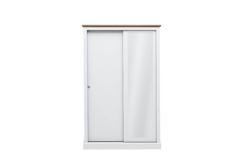 Devon 2 Door Sliding Wardrobe White with Mirrored Door