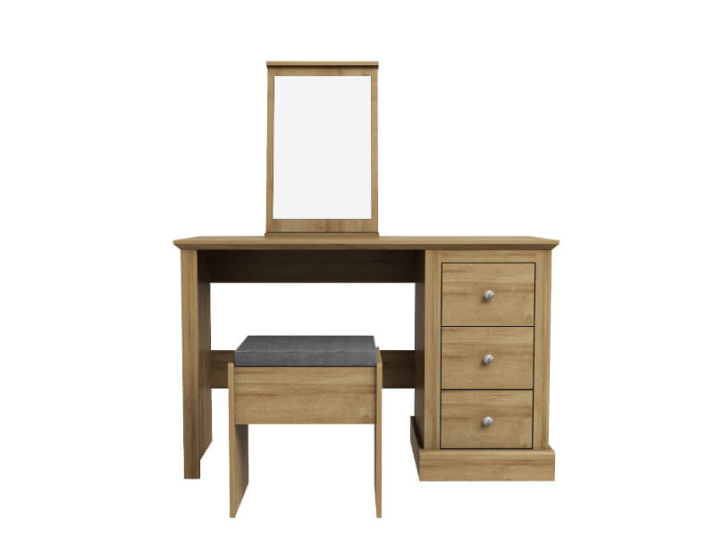 Devon Dressing Table with Stool & Mirror - Oak