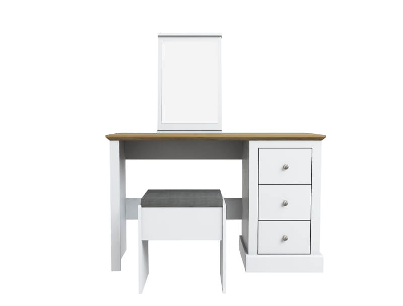 Devon Dressing Table with Stool & Mirror - White