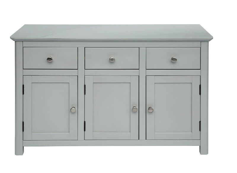 Elgin Grey Painted Three Door Three Drawer Sideboard with Glass Top