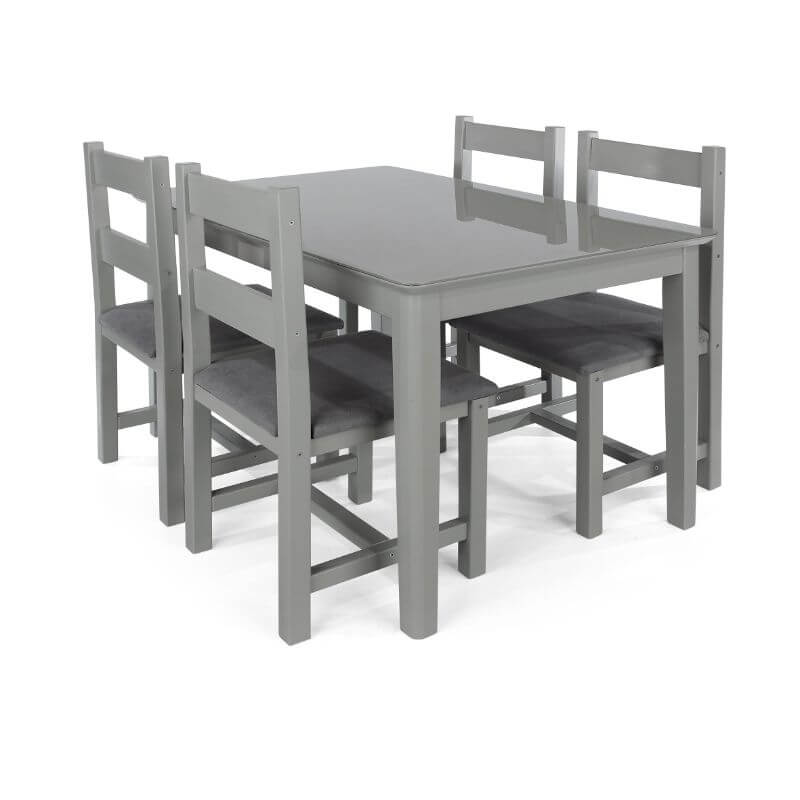 Abdabs Furniture Elgin Grey Painted Dining Table Four Dining Chairs Set