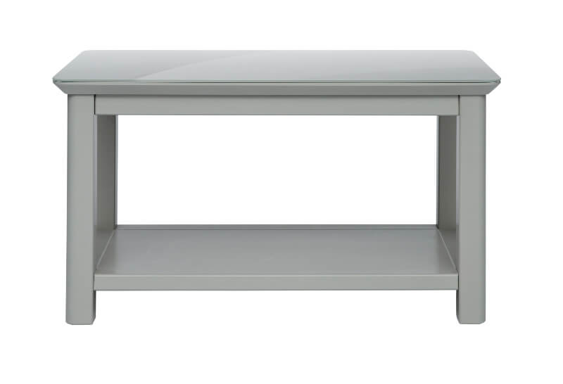 Elgin Grey Painted Coffee Table with Glass Bonded Top