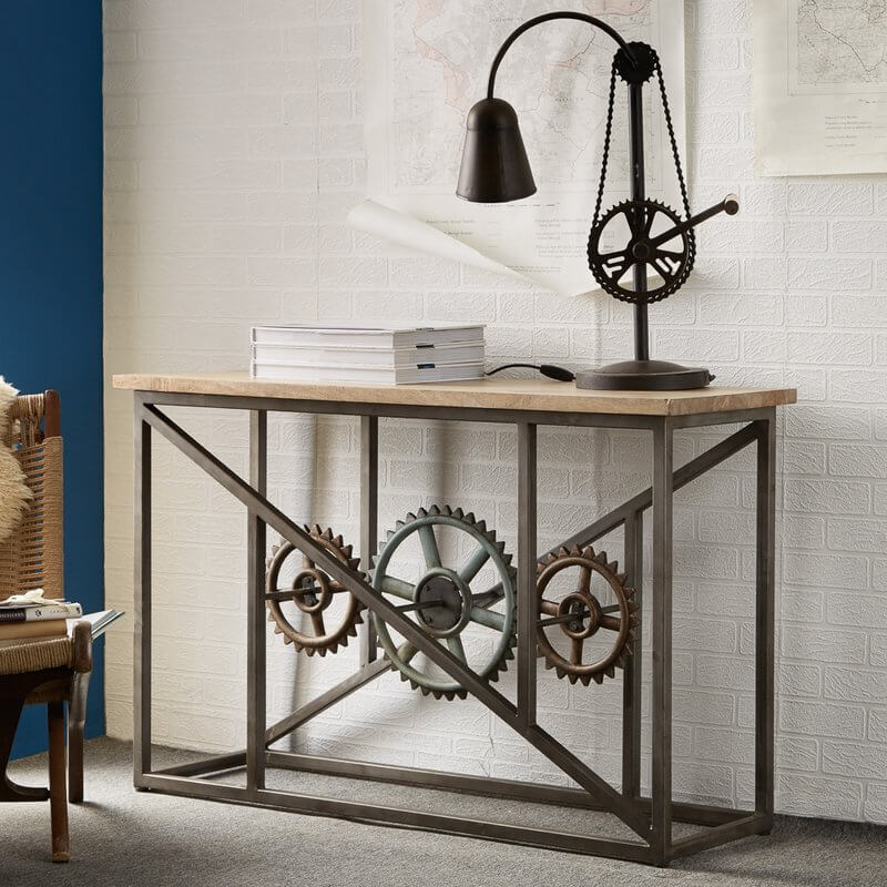 Evoke Console Table with Wheels - Aged Metal & Solid Wood