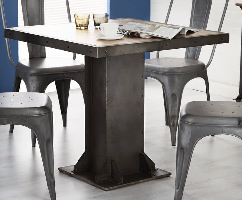 Evoke Square Dining Table - Aged Metal & Solid Wood