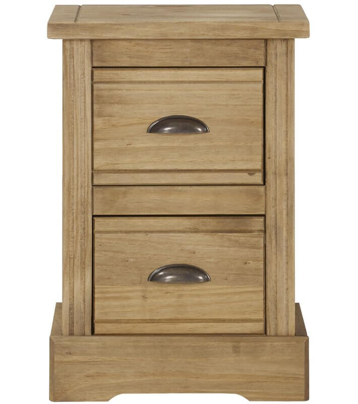 Fara Waxed Pine 2 Drawer Compact Bedside Cabinet
