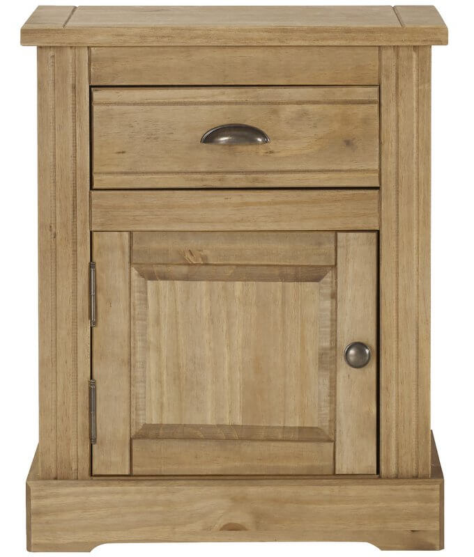 Fara Waxed Pine 1 Drawer 1 Door Bedside Cabinet