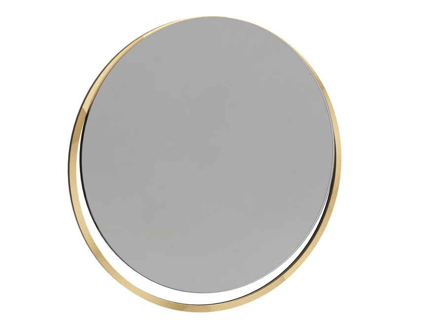 Federico Circular Wall Hanging Mirror with Brushed Brass Frame