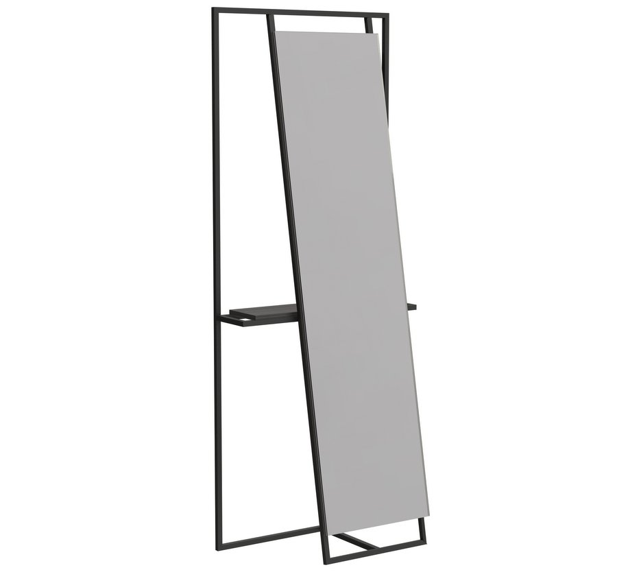 Federico Floor Standing Mirror and Valet in Black