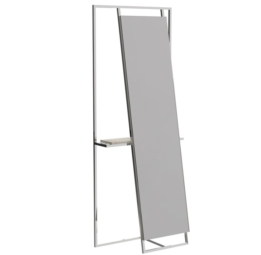 Federico Floor Standing Mirror and Valet with Chrome Frame with Weathered Oak Accent
