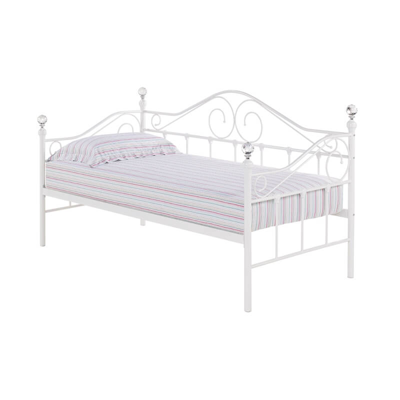 Florence White Metal Day Bed with Crystal Finials