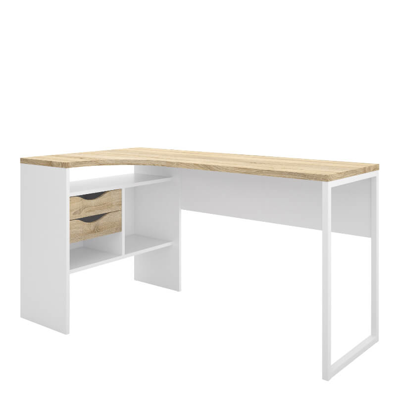 Function Plus Corner Desk 2 Drawers in White and Oak Effect