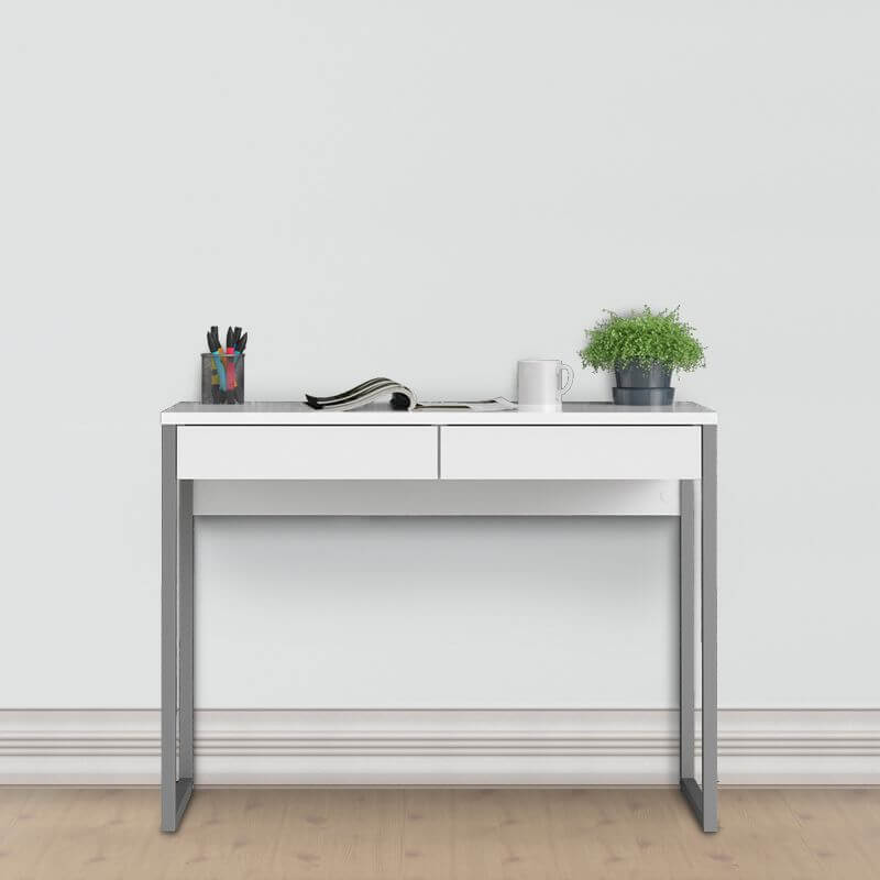 Function Plus Desk 2 Drawers in White High Gloss