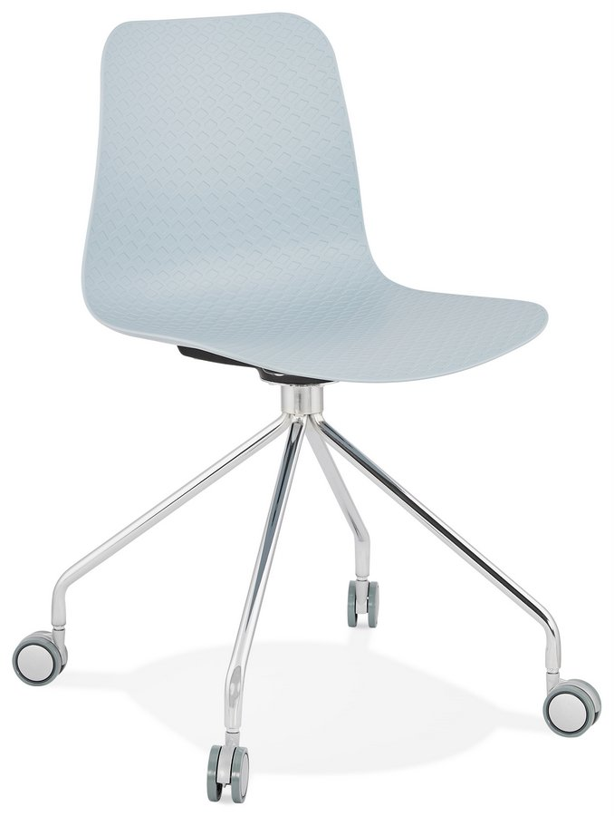 Incredible Funky Blue Plastic Seat Desk Chair With Chrome Swivel Base Ncnpc Chair Design For Home Ncnpcorg