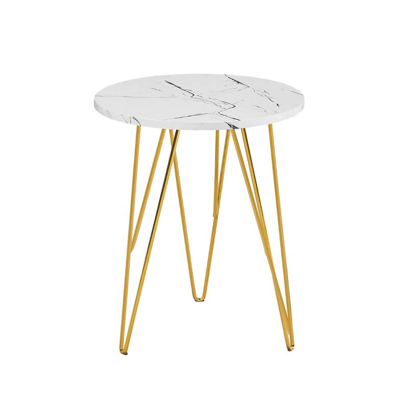 Fusion Lamp Table White Marble Effect with Gold Wired Legs