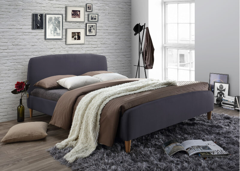 Geneva Dark Grey Fabric Bed Frame - King-Size