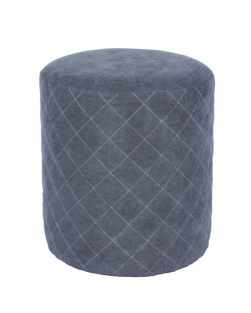 Grey Fabric Upholstered Round Tub Stool