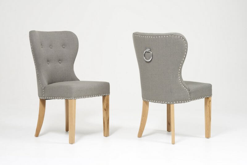 Kalim Grey Scoop Back Fabric Dining Chairs - Pair