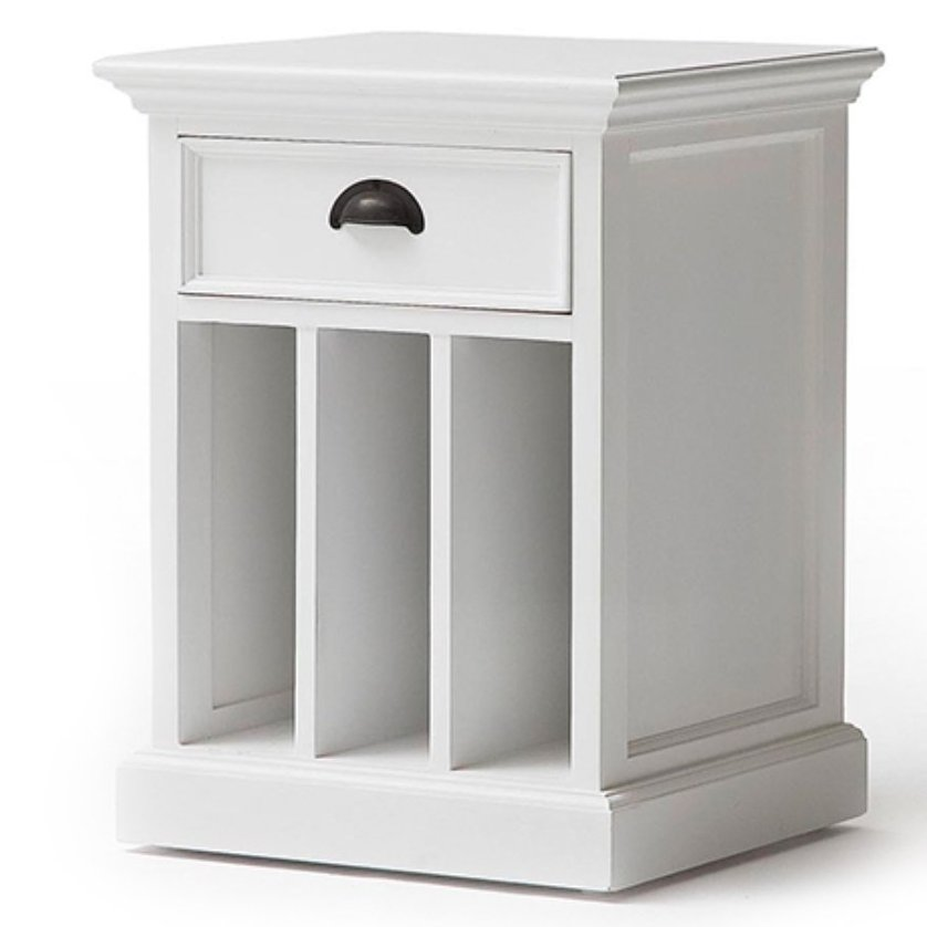 Halifax White Bedside Table with Dividers
