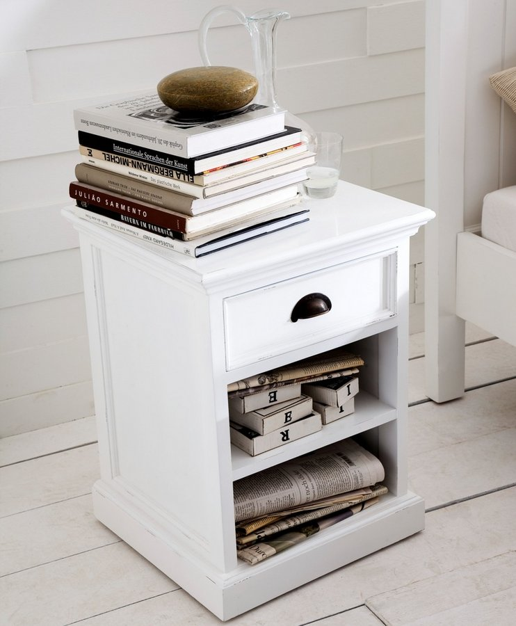 Halifax White Bedside Table with Shelves