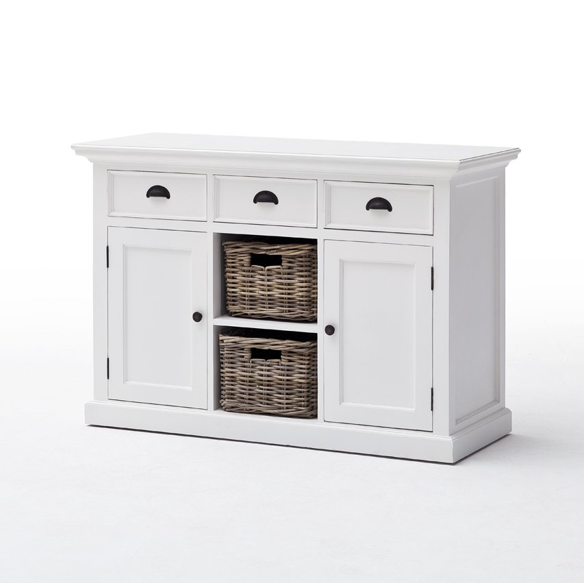 Halifax White Buffet Sideboard with 2 Rattan Baskets