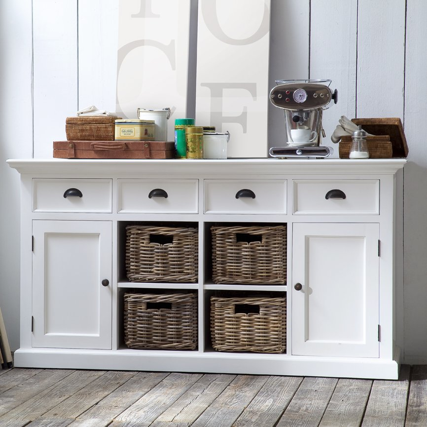 Halifax White Buffet Sideboard with 4 Rattan Baskets