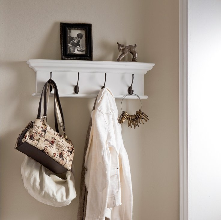 Halifax White Four - Hook Coat Rack