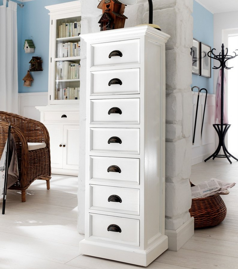 Halifax White Storage Tower with Drawers