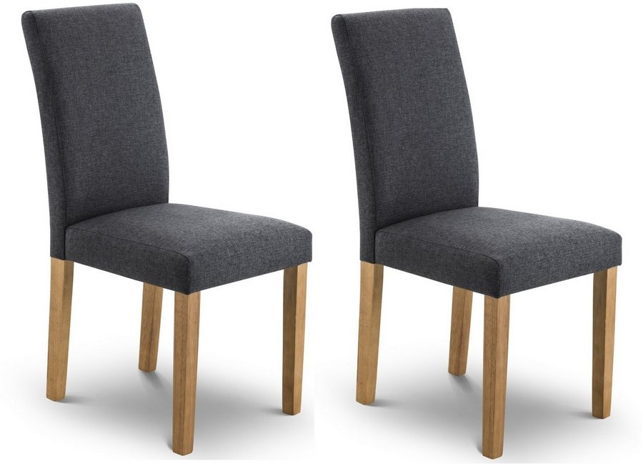 Hastings Slate Linen Fabric Dining Chairs- Set
