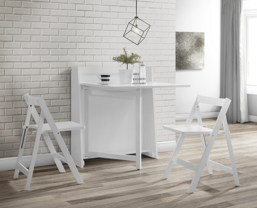 Phenomenal Helsinki Compact Fold Away White Dining Set Ncnpc Chair Design For Home Ncnpcorg