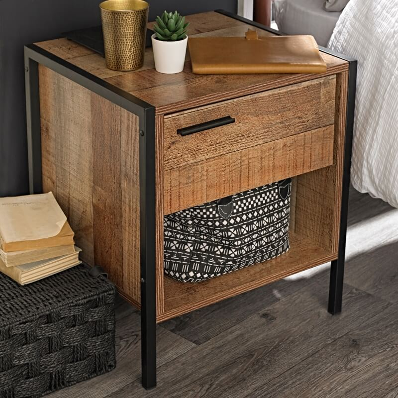Hoxton Bedside Cabinet Distressed Oak Effect