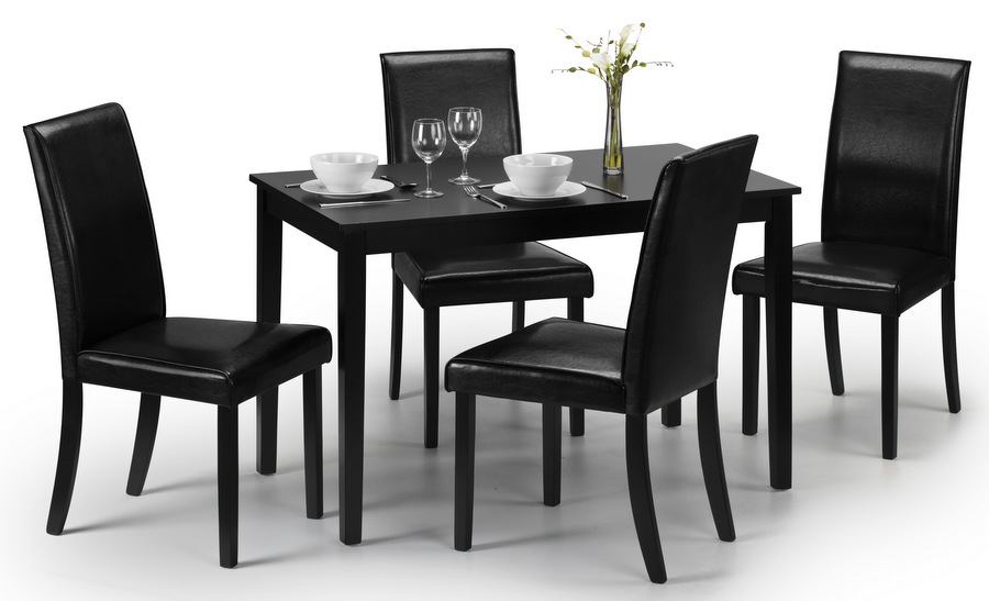 Hudson Black Dining Table & 4 Faux Leather Chairs