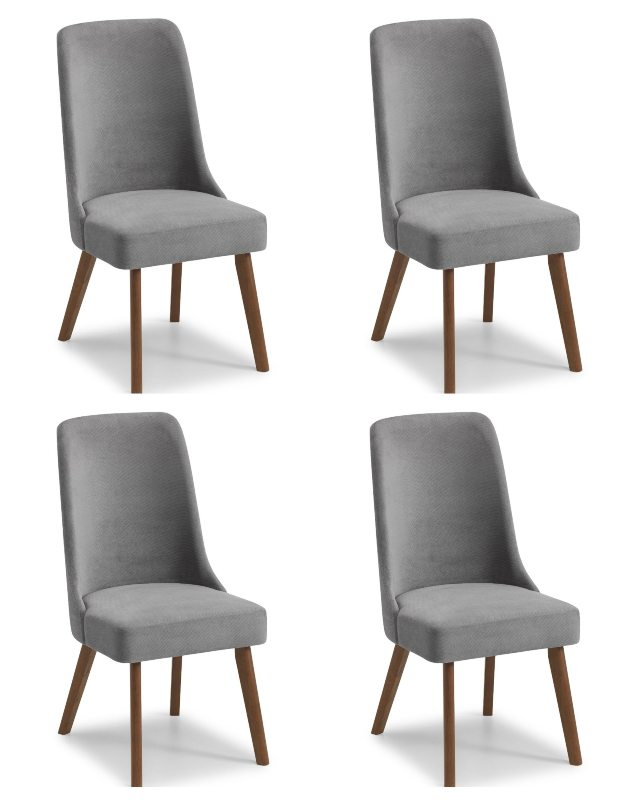 Huxley Grey Chenille Dining Chair with Walnut Legs - Set of 4
